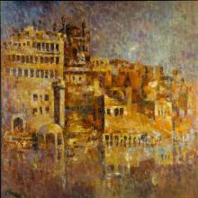 Impressionist Oil Art Painting title 'Ancient Castle I' by artist Upendra Nayak