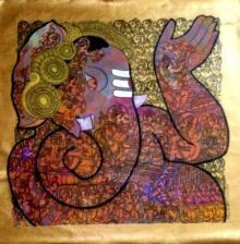 Abstract Acrylic Art Painting title 'Ganesh' by artist Ramesh Gorjala