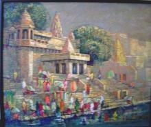 Cityscape Acrylic Art Painting title Untitled by artist Yashwant Shiirwadkar