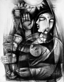 Figurative Charcoal Art Painting title 'Untitled' by artist NP Pandey