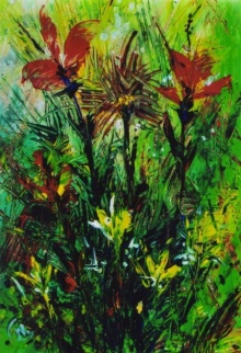 Nature Acrylic Art Painting title 'Floral 1' by artist NP Pandey
