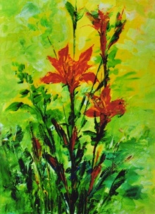 Nature Acrylic Art Painting title 'Floral 2' by artist NP Pandey