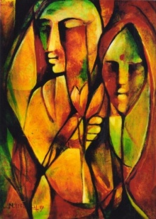 Figurative Acrylic Art Painting title 'Life' by artist NP Pandey