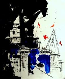 Abstract Mixed-media Art Drawing title Banaras Drawing 2017 by artist GIRISH CHANDRA VIDYARATNA