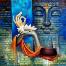 Religious Acrylic Art Painting title 'Buddha 3' by artist Sanjay Lokhande
