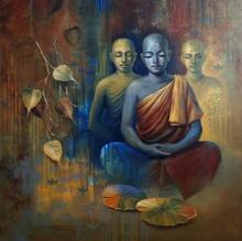 Religious Acrylic Art Painting title 'Buddha 4' by artist Sanjay Lokhande