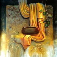 Religious Acrylic Art Painting title 'Buddha 6' by artist Sanjay Lokhande