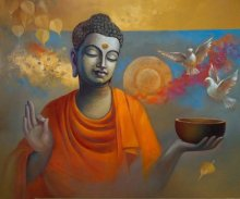 Figurative Oil Art Painting title 'Buddha Ananda' by artist Sanjay Lokhande