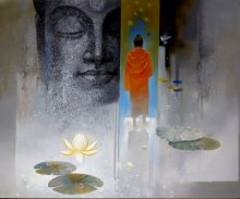 Figurative Acrylic Art Painting title 'Buddha Breathing' by artist Sanjay Lokhande