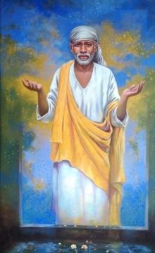 Sanjay Lokhande | Acrylic Painting title Sai Baba on Canvas | Artist Sanjay Lokhande Gallery | ArtZolo.com