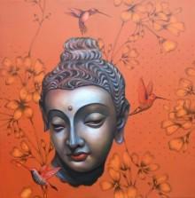 Religious Acrylic Art Painting title 'Buddha' by artist Sujit Karmakar