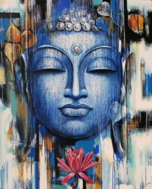 Vishal Phasale Paintings | Acrylic Painting - Gautama Buddha by artist Vishal Phasale | ArtZolo.com