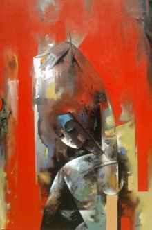 Figurative Acrylic Art Painting title 'Nrutya Chandrika 52' by artist Vishal Phasale