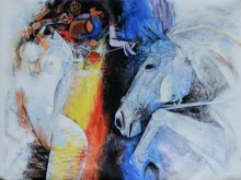 Figurative Acrylic Art Painting title 'Beauty with Horse' by artist Vishal Phasale