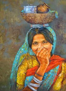 Figurative Acrylic Art Painting title 'Lunch Box' by artist Milind Varangaonkar
