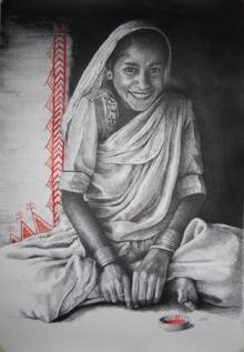 Figurative Mixed-media Art Painting title 'Indian Woman' by artist Milind Varangaonkar