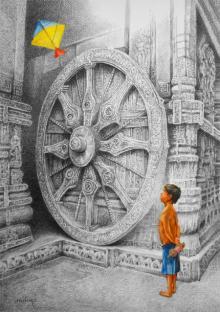 Figurative Mixed-media Art Painting title 'Kite' by artist Milind Varangaonkar
