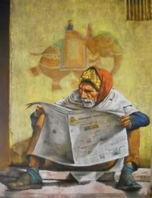 Figurative Acrylic Art Painting title 'Untitled' by artist Milind Varangaonkar