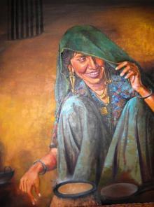 Figurative Mixed-media Art Painting title 'Indian Lady I' by artist Milind Varangaonkar