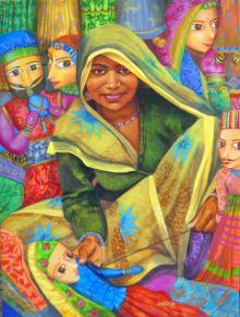 Figurative Acrylic Art Painting title 'Puppet Seller' by artist Milind Varangaonkar