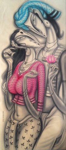 Figurative Mixed-media Art Painting title 'Couple in Love' by artist Ramesh Pachpande