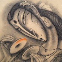 Figurative Charcoal Art Painting title 'Musician IV' by artist Ramesh Pachpande