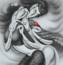 Figurative Acrylic Art Painting title 'Dancing Couple' by artist Ramesh Pachpande