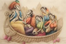 Radha Krishna with Musicians | Painting by artist Ramesh Pachpande | acrylic | Canvas
