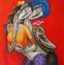 Figurative Acrylic Art Painting title 'Couple' by artist Ramesh Pachpande