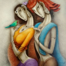 Figurative Acrylic Art Painting title 'Couple 1' by artist Ramesh Pachpande