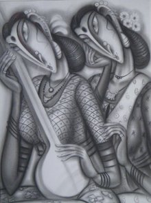 Ramesh Pachpande | Charcoal Painting title Musicians on Paper | Artist Ramesh Pachpande Gallery | ArtZolo.com