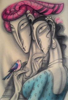 Figurative Dry-pastel Art Painting title 'Couple with Red Turban' by artist Ramesh Pachpande