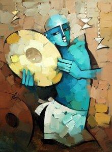Figurative Acrylic Art Painting title 'Drummer' by artist Deepa Vedpathak