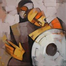 Figurative Acrylic Art Painting title 'Drummer 73' by artist Deepa Vedpathak