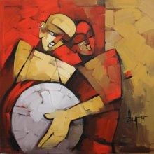 Figurative Acrylic Art Painting title 'Drummer 75' by artist Deepa Vedpathak