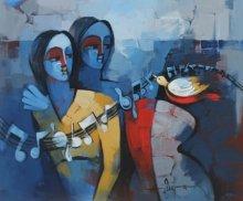 Figurative Acrylic Art Painting title 'Sakhi' by artist Deepa Vedpathak