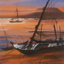 Boat 18 | Painting by artist Ganesh Hire | watercolor | Paper