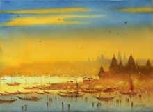 Nature Watercolor Art Painting title 'Aarti at Banaras Ghat' by artist Ganesh Hire