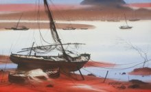 Ganesh Hire | Watercolor Painting title Boat On Sea Shore on Paper | Artist Ganesh Hire Gallery | ArtZolo.com