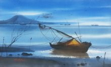 Ganesh Hire | Watercolor Painting title Beach Boat & Water on Paper | Artist Ganesh Hire Gallery | ArtZolo.com