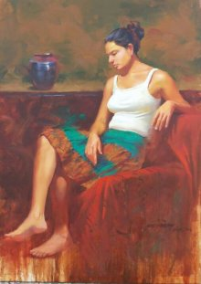 Figurative Watercolor Art Painting title 'In Deep Thoughts' by artist Ganesh Hire