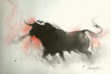 Animals Charcoal Art Drawing title 'Bull 2' by artist Ganesh Hire