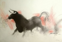 Animals Charcoal Art Drawing title 'Bull 1' by artist Ganesh Hire