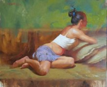 Figurative Oil Art Painting title Blue Skirt 2 by artist Ganesh Hire