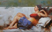 Figurative Oil Art Painting title Blue Skrit by artist Ganesh Hire