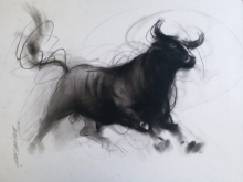 Animals Charcoal Art Painting title Bull 4 by artist Ganesh Hire