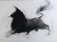 Ganesh Hire | Charcoal Painting title Bull 9 on Paper | Artist Ganesh Hire Gallery | ArtZolo.com