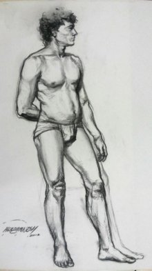 Nude Charcoal Art Drawing title 'Nude Man' by artist Ganesh Hire
