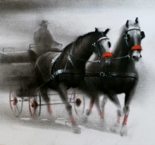 Animals Charcoal Art Painting title Horse Carriage 1 by artist Ganesh Hire