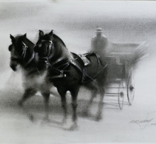 Animals Charcoal Art Painting title 'Horse Carriage 2' by artist Ganesh Hire